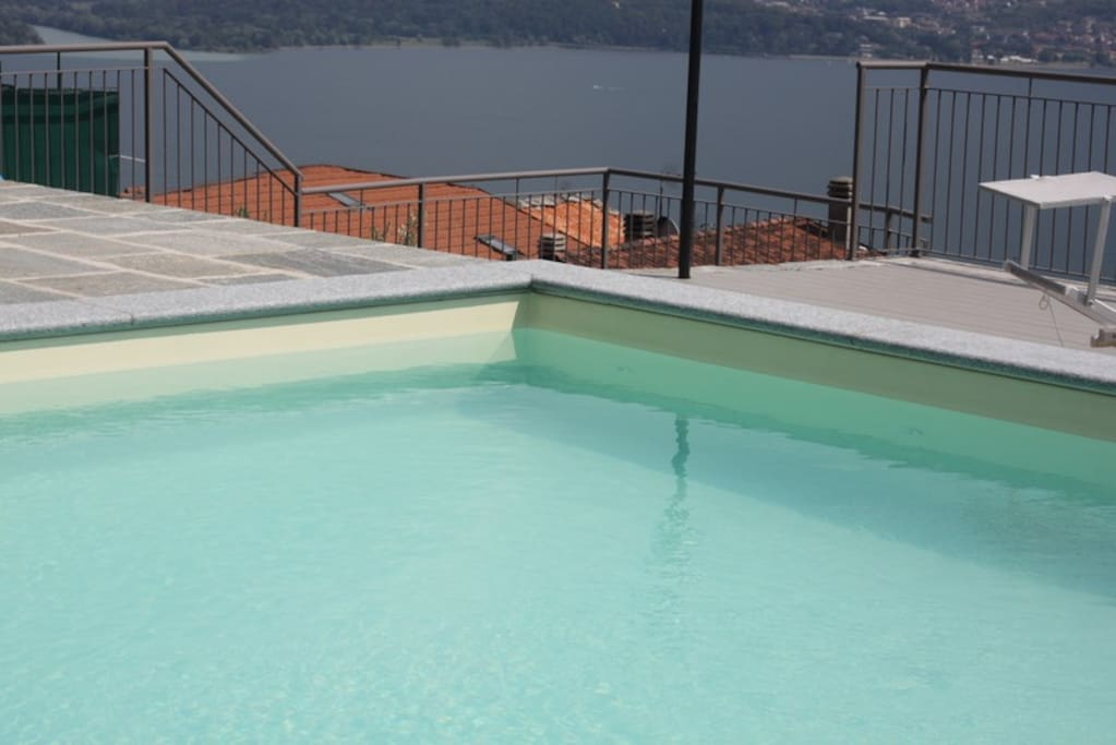 the pool with lake view