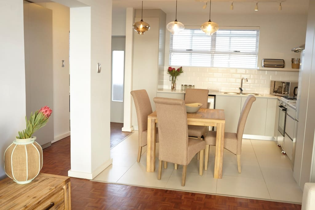 View from lounge into kitchen and eating area
