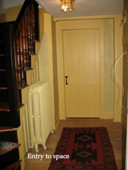 Private entry to upstairs suite, closed off from downstairs