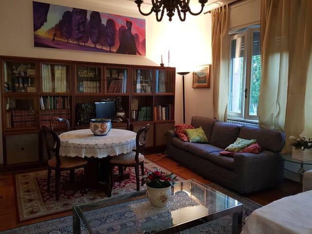 Area del soggiorno con tavolo , TV e divano