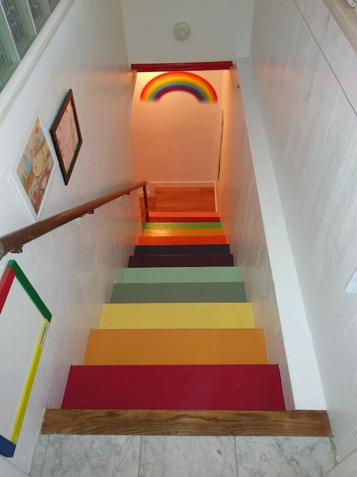 Rainbow Stairway down to your own private living area.