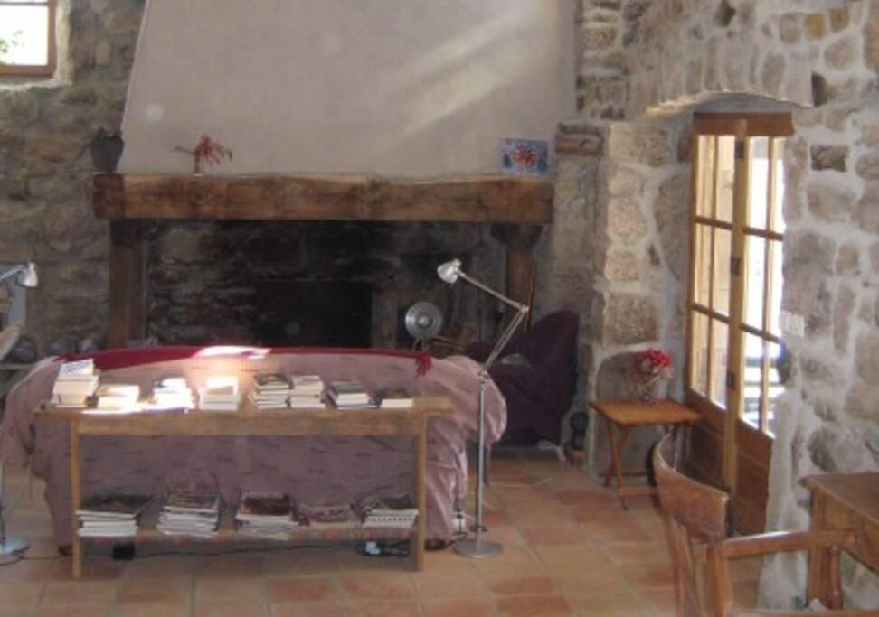 kamer met grote open haard séjour avec cheminée