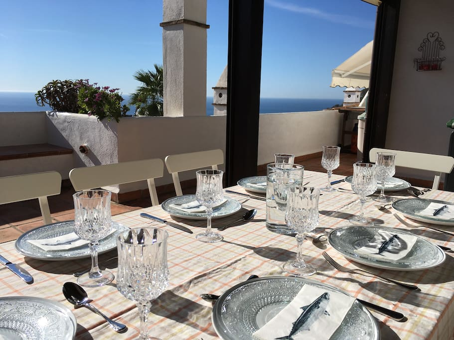 Dining for eight with sea views.