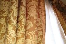 CURTAINS WITH GOLD DAMASK DECORATION