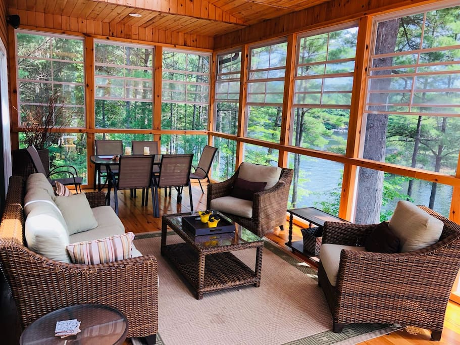 Sit in the Muskoka Room, while feeling as if you're outdoors, bug free