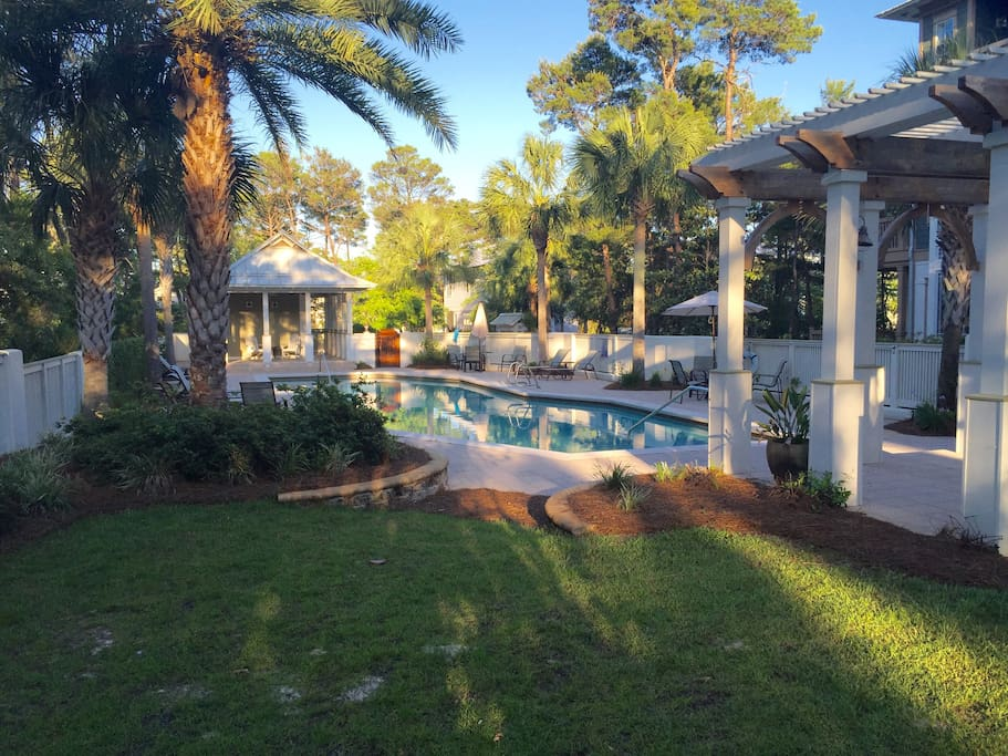 Greenway Park, the most gorgeous kept secret on 30-a. Across the street from the pool and it comes with 6 seater golf cart (for an additional fee) to get you to the beach!