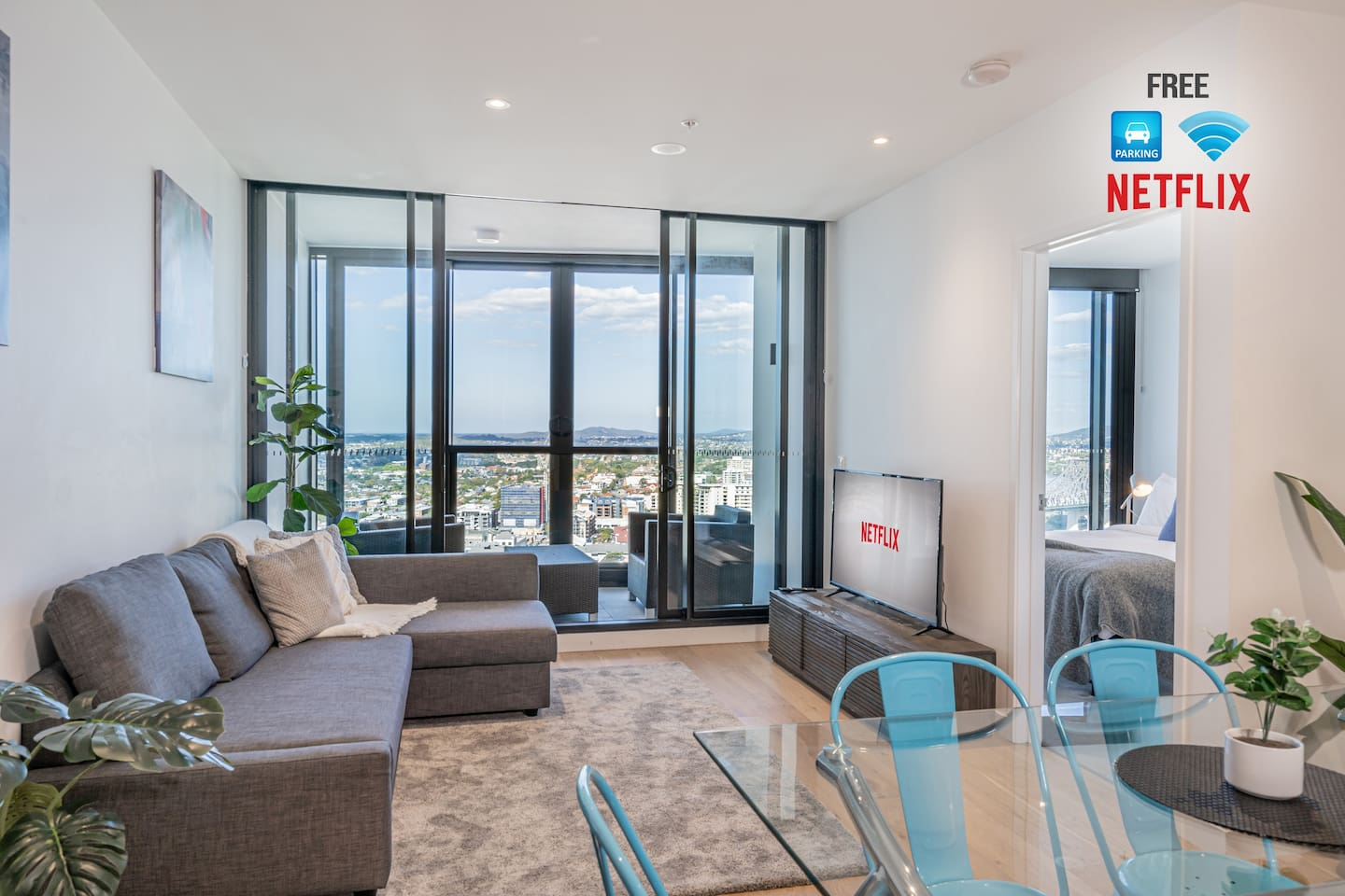 Clean, fresh and spacious living/dining area with alfresco balcony with stunning views!