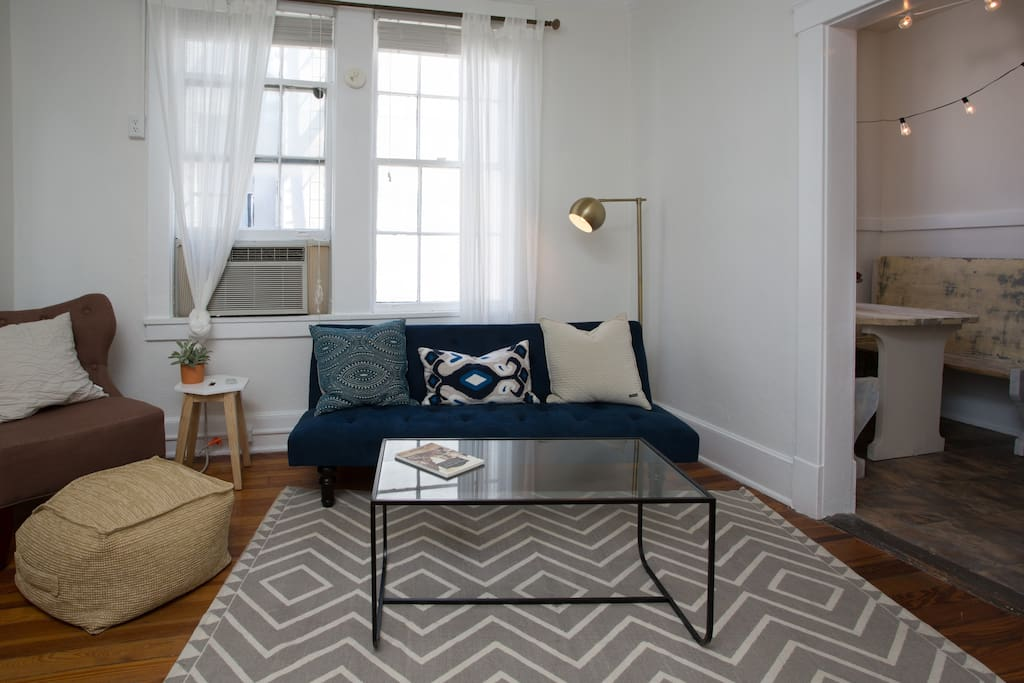 We added a simple rug and a coffee table to make the apartment extra comfy!