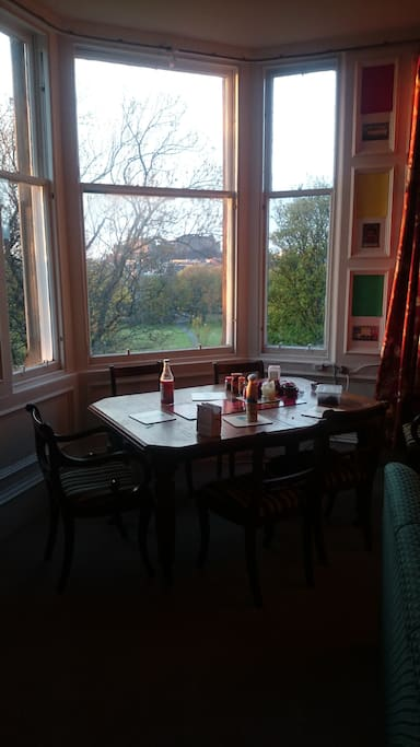 Dining table in the lounge looking across to the castle