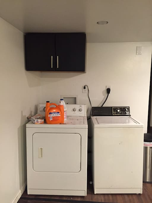 Washer and dryer with laundry detergent