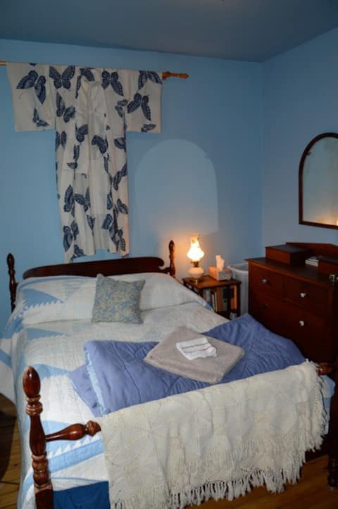 Your bedroom with private bath. Double bed with brand new mattress.