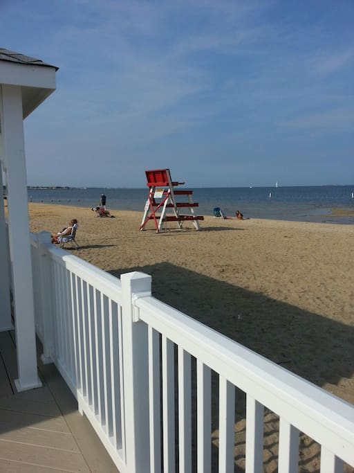 "Barnegat Bay Beach Life Guard on duty every day ""FREE Beach"""
