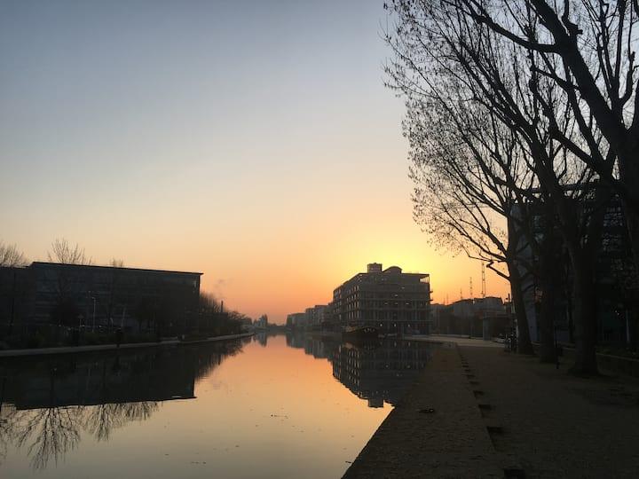 Pantin, bord du canal