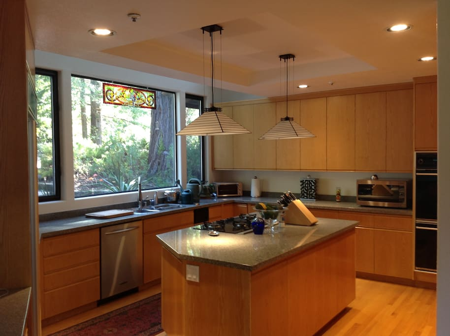 Giant windows and skylights in the kitchen