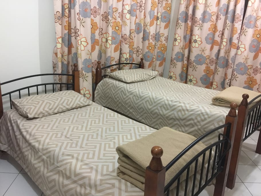 Twin bed with mattress. This is bedroom1.  Blanket is not generally provided in the room unless you request to us
