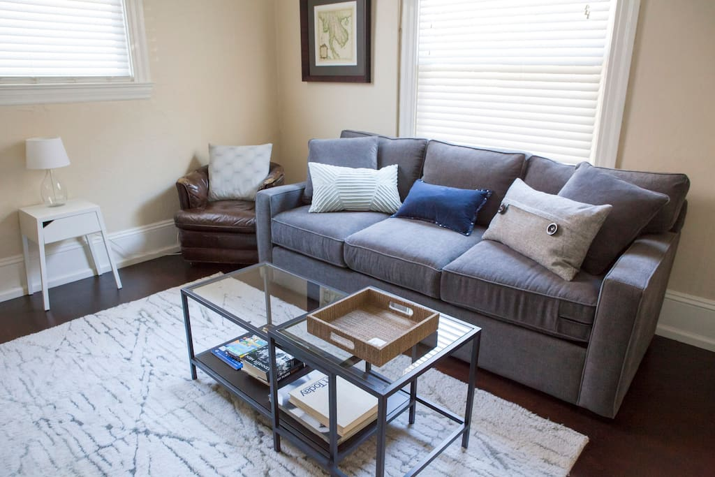 The living room couch is also a pull-out bed for extra guests.