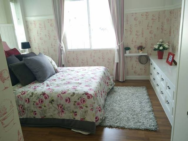 This's main bedroom with Double bed and private bathroom.