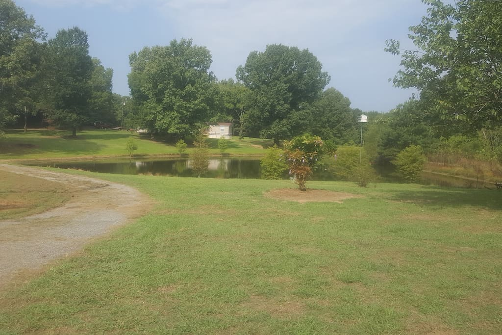 1.5 acre stocked private pond great for fishing and swimming. Has made a beautiful backdrop for a few weddings. Also great for waterdogs.