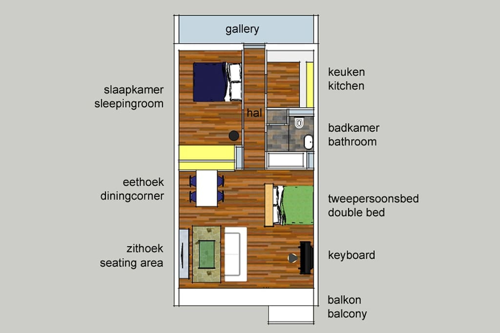 Lay-out of the furnished apartment.