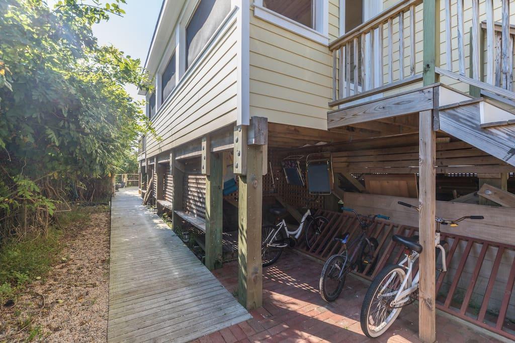Peaceful walkway to the home's backyard deck