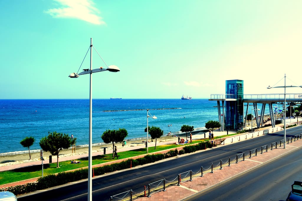 Amazing view of the Limassol Sea Road from the Balcony, looking towards the road to the Limassol Marina.