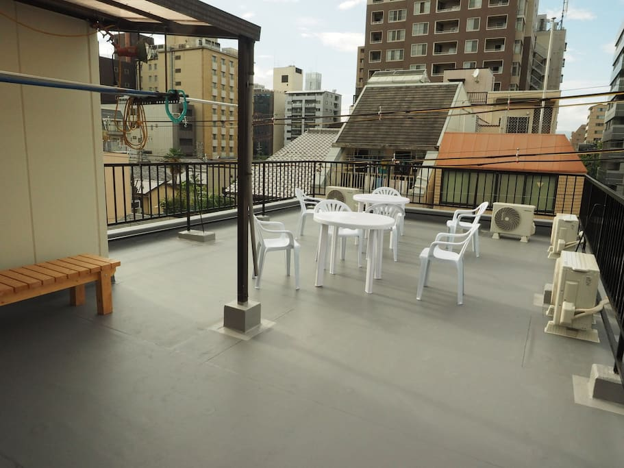 Rooftop terrace: Share space. Owne's family sometimes have  party during the night but you can use it.