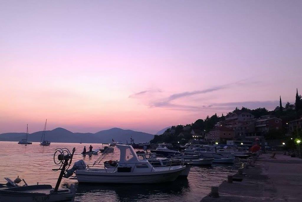 Bigovo marina at sunset