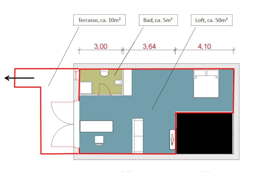 Grundriss: Terrasse, Bad, Loft