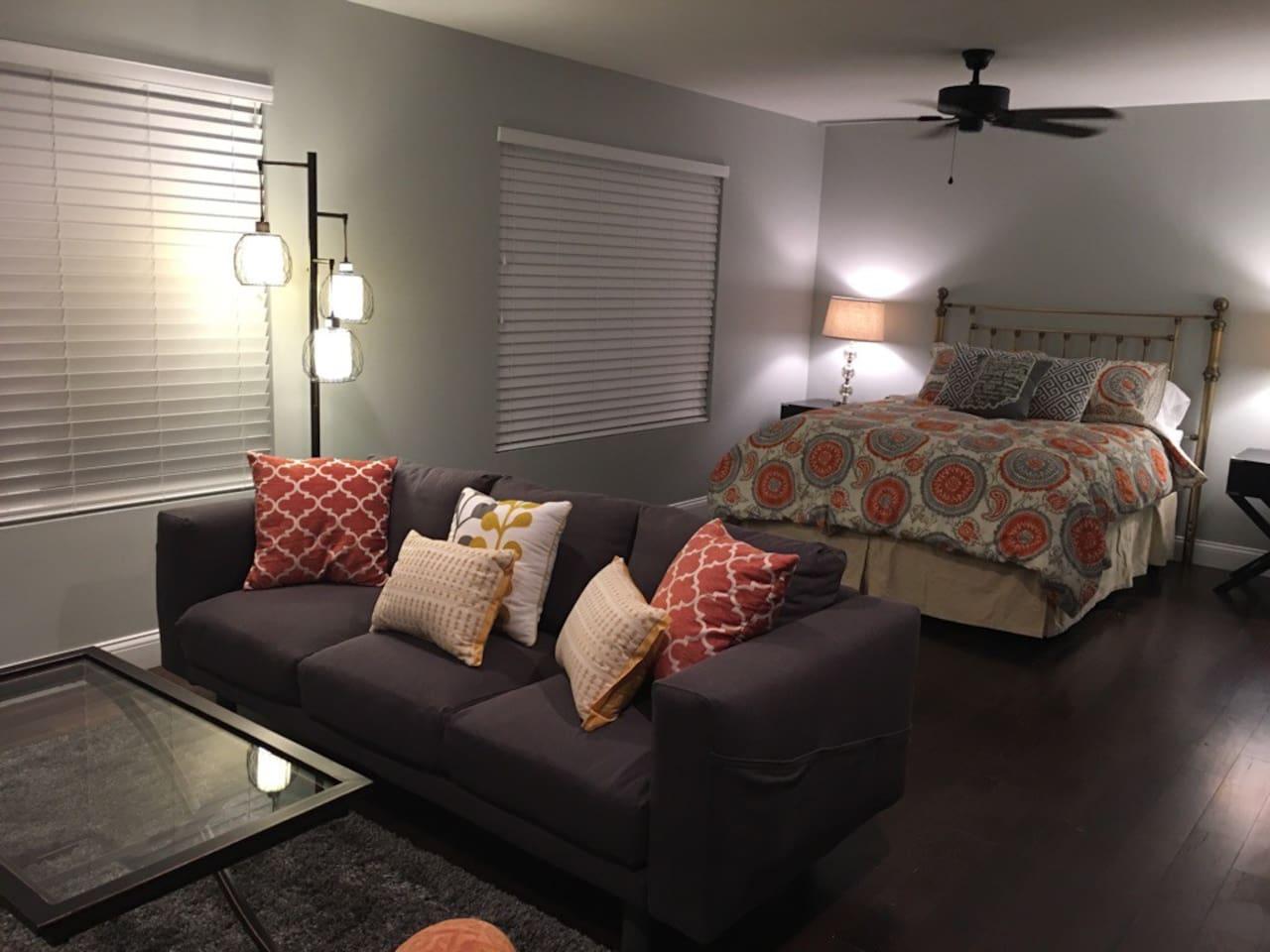 open style bedroom/living area