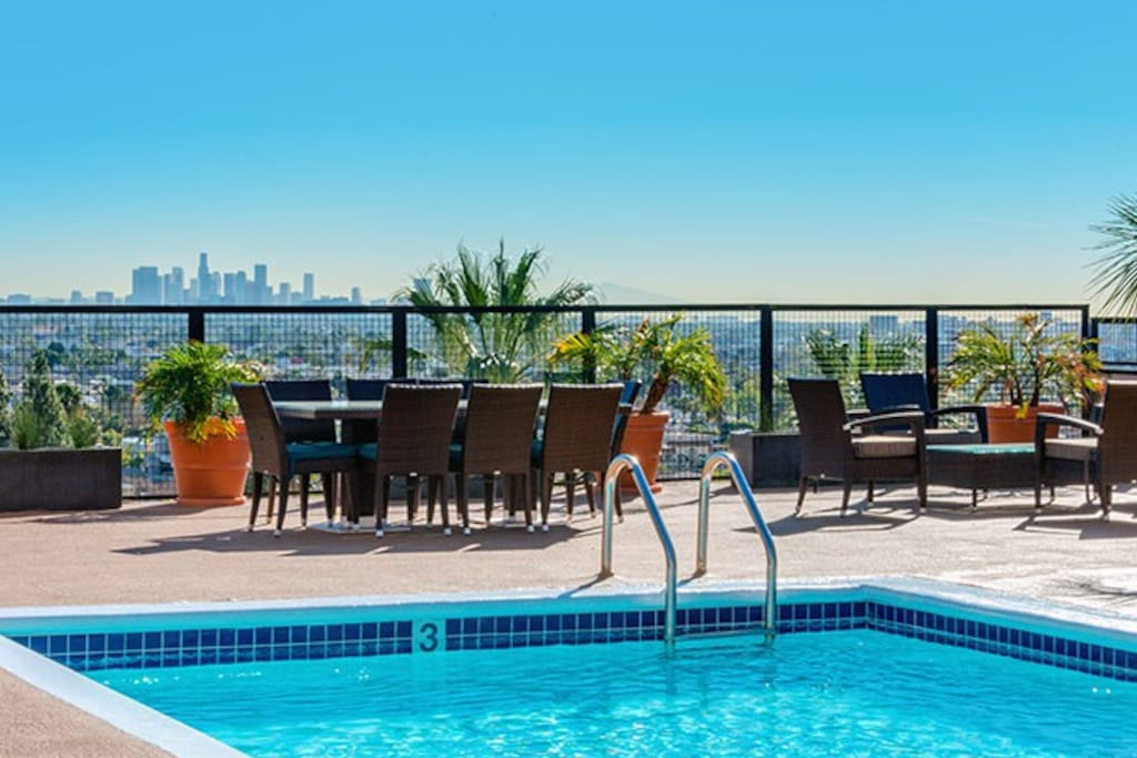 Rooftop pool and Los Angeles skyline