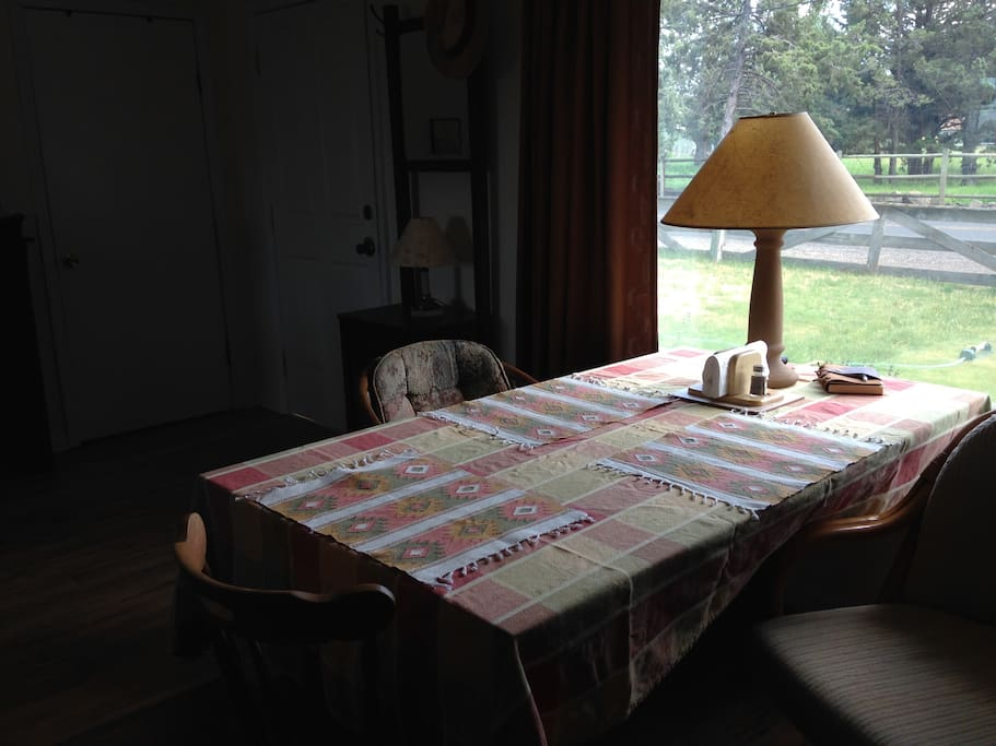 The communal dining table - with a view of the Cascades