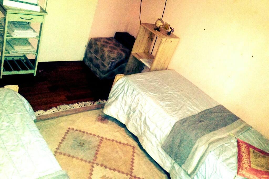 """La habitación tiene una TV 20"""" con señal DirecTV, 2 camas, muebles de apoyo (mesas de luz, estantes, etc), y una hermosa vista al jardín trasero."""