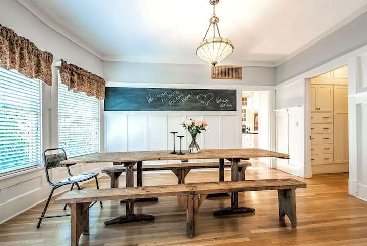 Dining room with vintage French farm table.