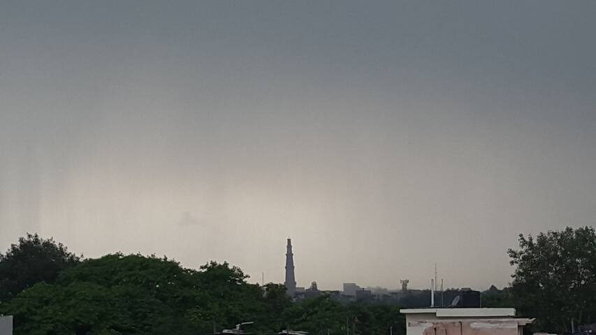 The view of QUTUB MINAR from the terrace