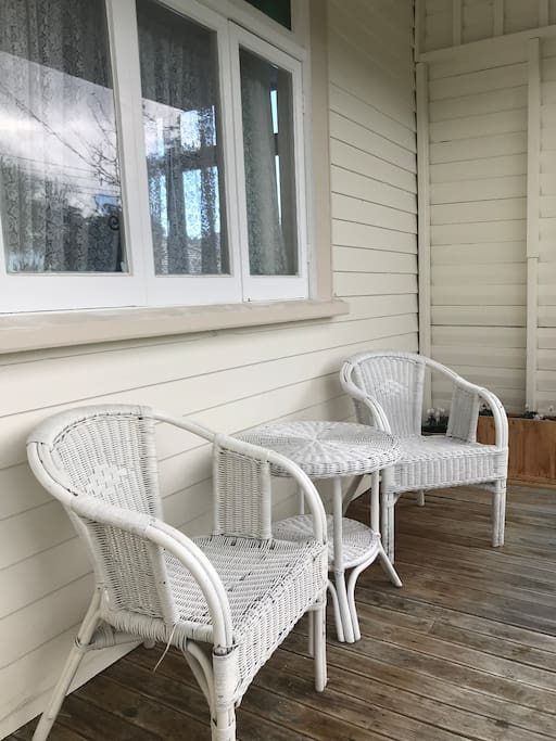 Relax on our front porch, enjoy morning sunshine & evening skies