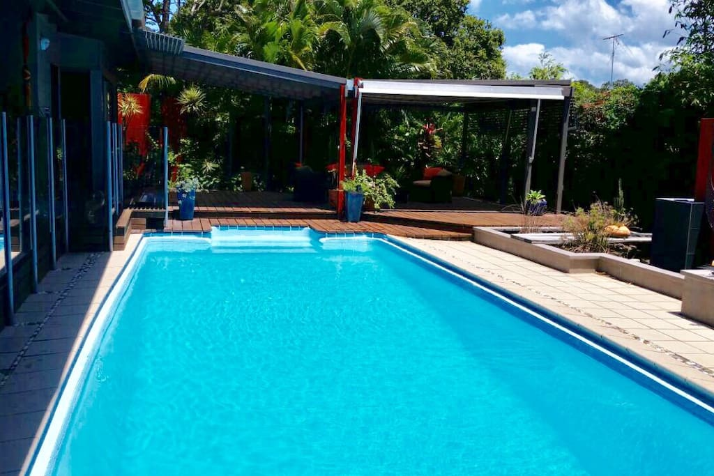 Pool adjacent to outdoor areas