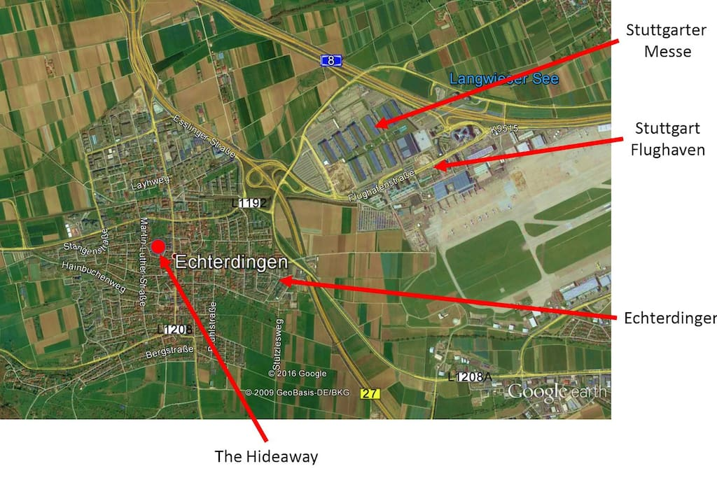 The Hideaway is situated close to the airport and the Messe (exhibition center)