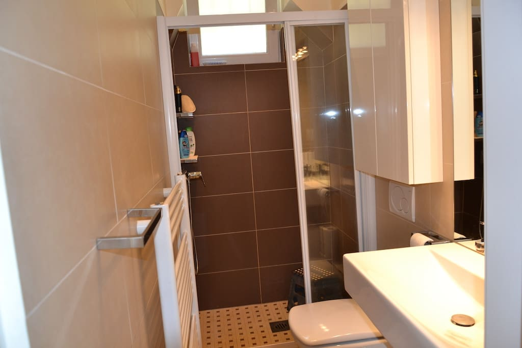 bathroom with big shower cabine