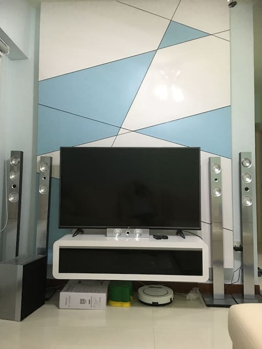 TV console with sound system, cable TV and internet