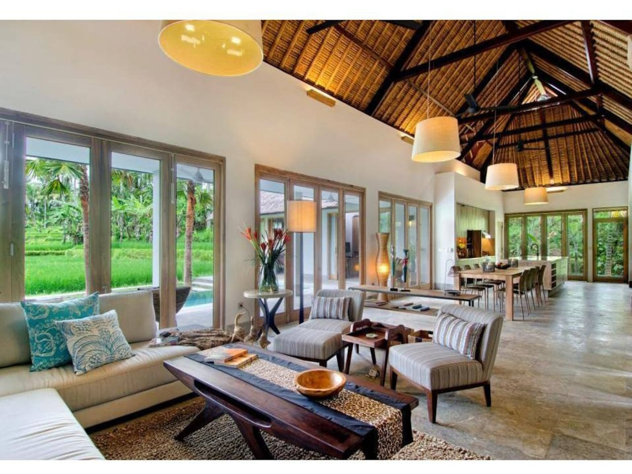 best open concept of living room, work space & the island