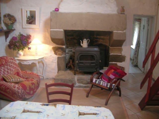 Chaumière Bretonne pierre & verdure - Lannéanou - House