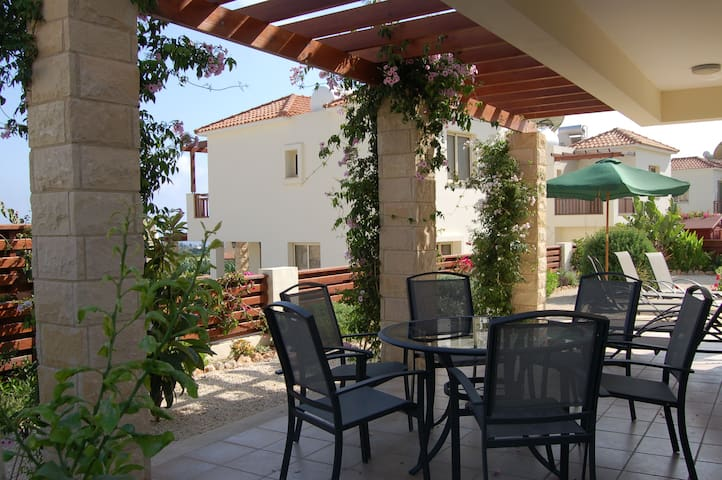 Outdoor terrace with citrus trees