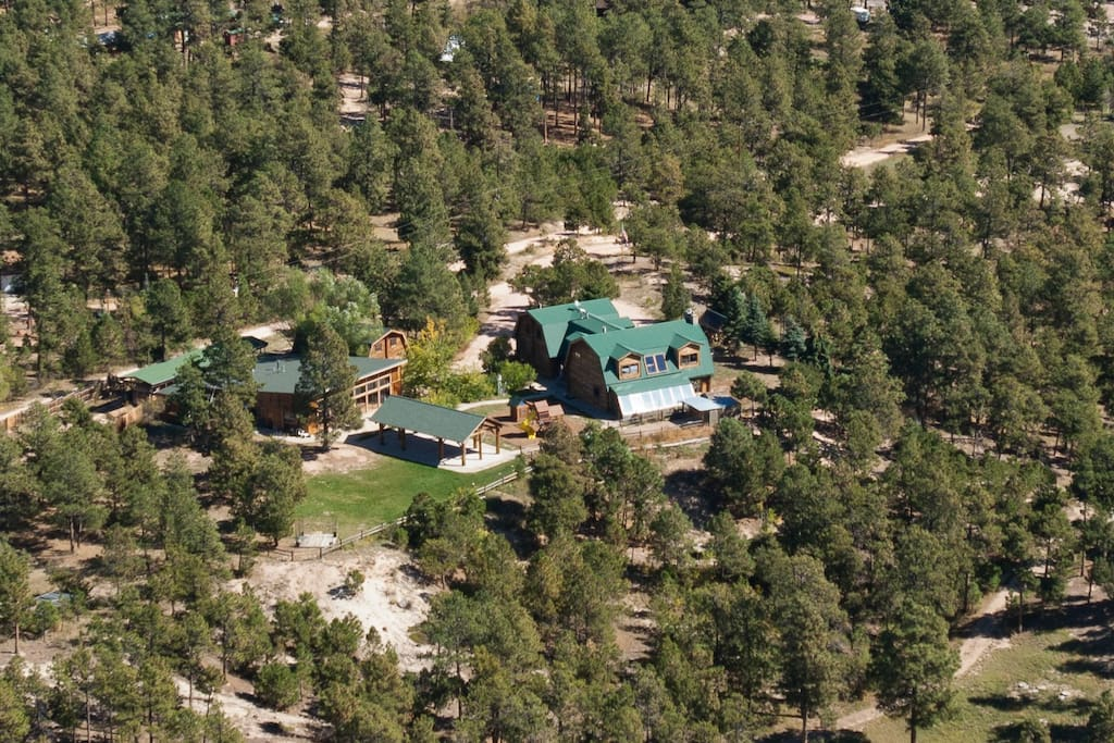 Aerial photo of Black Forest B&B Lodge and Cabins