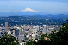 Beautiful downtown Portland with Mt. Hood in the background. Only 6 miles from the tiny house.