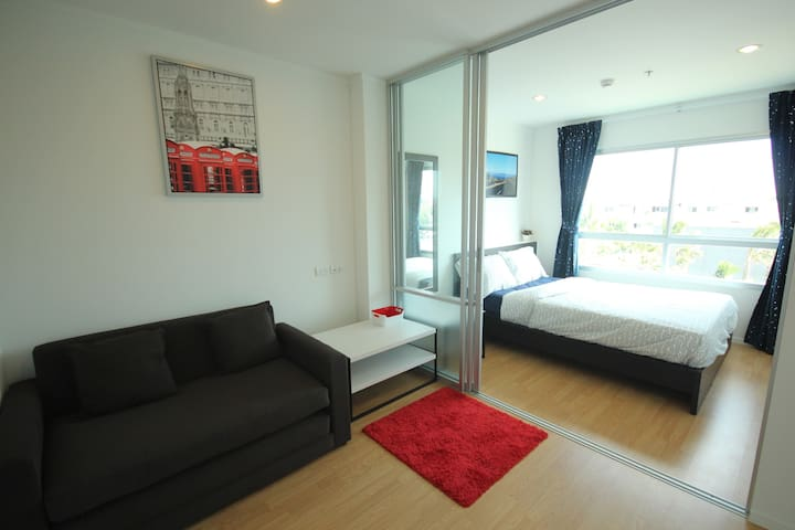 Stylish 1 Bedroom with living area, kitchen and toilet.