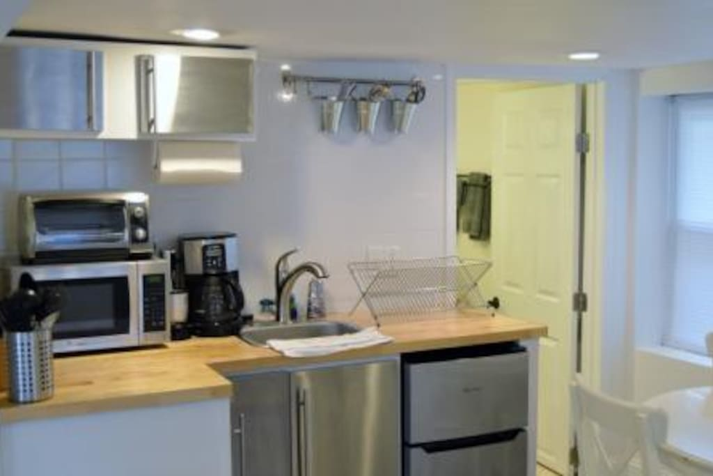 Small efficiency kitchen comes equipped with everything you could possibly need for your stay