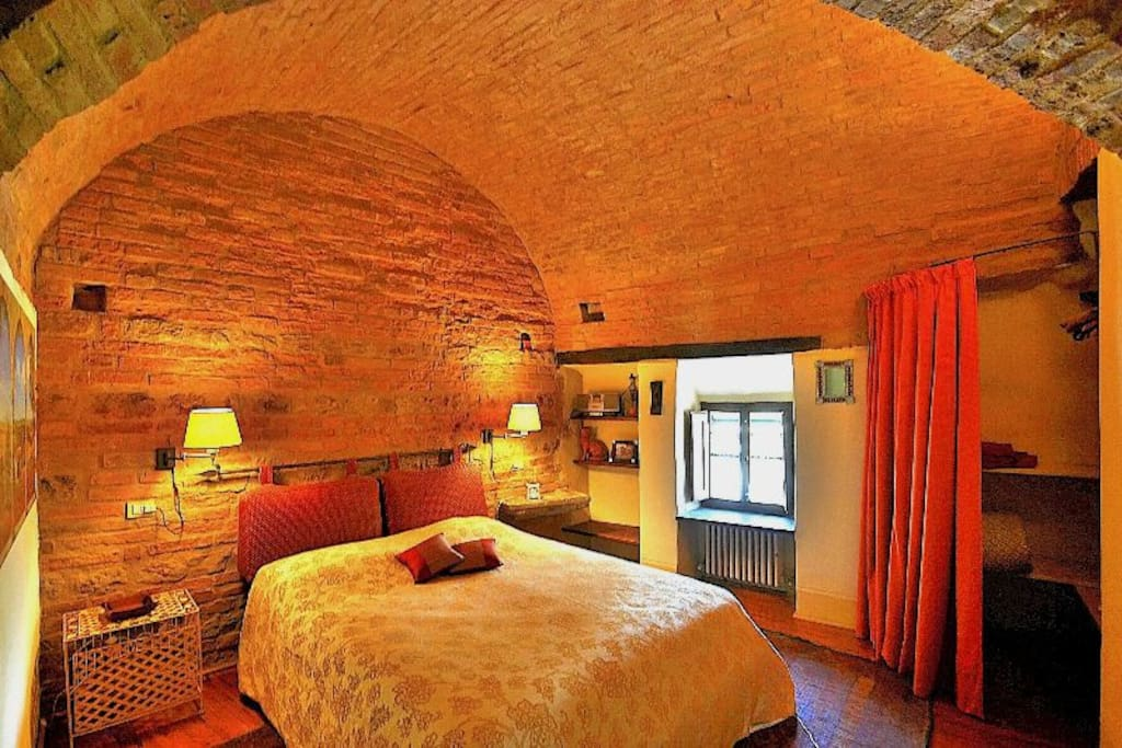 Master bed room in the medioeval tower with ensuite bathroom