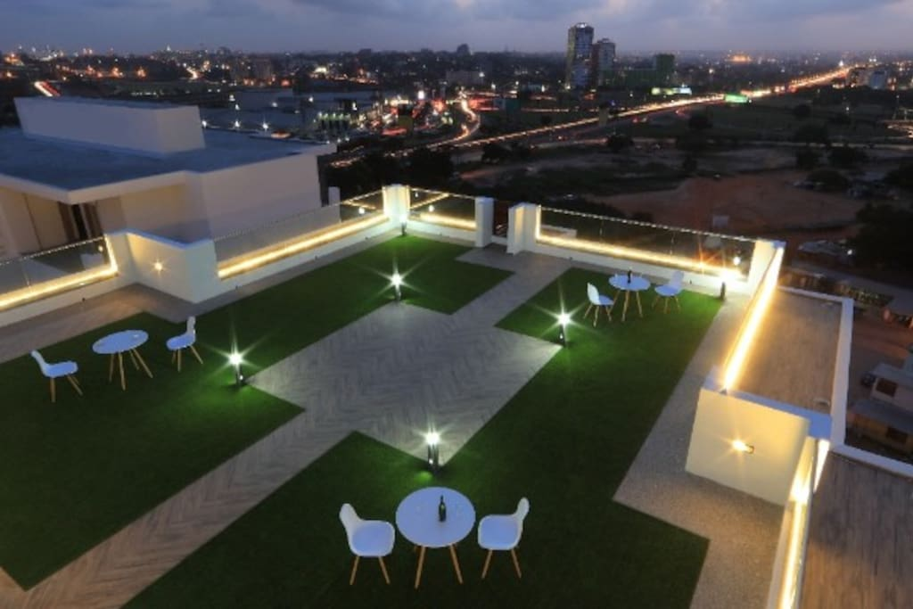 The amazing view from the roof top terrace / garden area at night