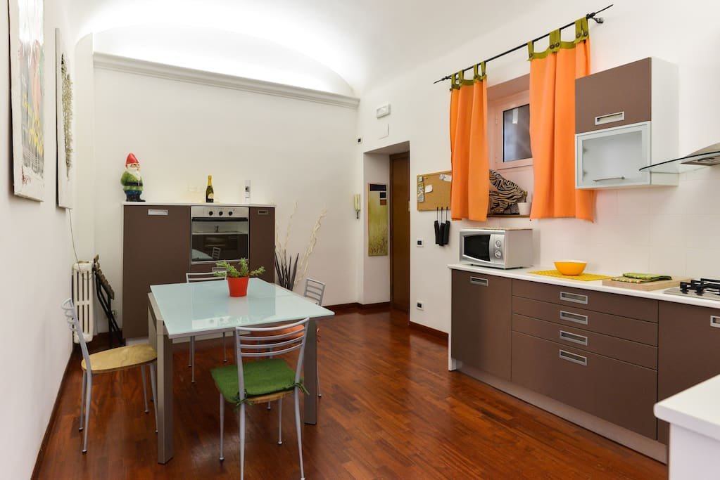 kitchen with extendable table