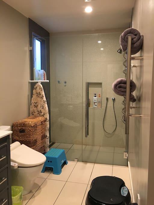 Walk in shower, heated bidet toilet seat, towel warmer and shampoo/body wash.